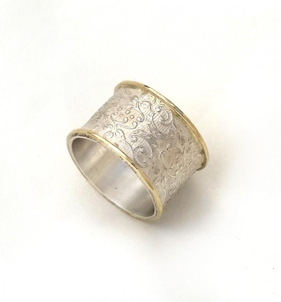 Wide Silver Wedding Ring Flower And Leaf Pattern Women S Band Textured Base Raised Yellow Gold Edges Art Nouveau Design