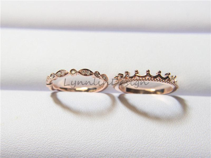 14K Rose Gold Engagement Set Wedding Set Wedding Ring Set Diamond