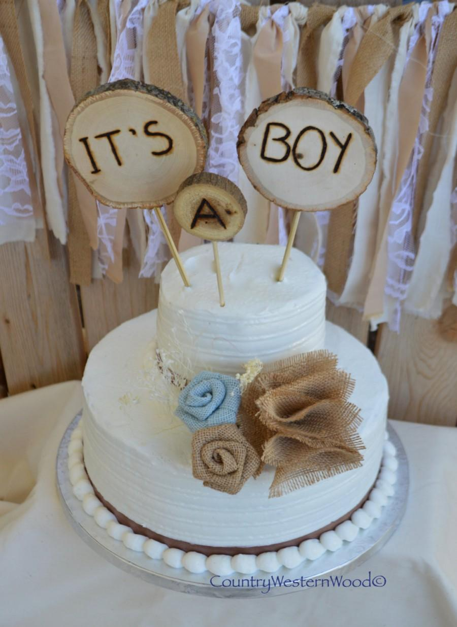 Rustic Cake Topper Baby Shower Burlap Wood It S A Boy