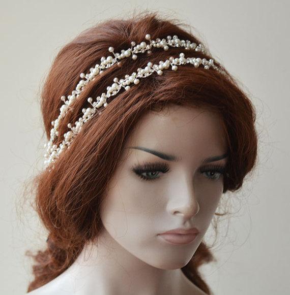 Bridal Headpiece Pearl Double Headband