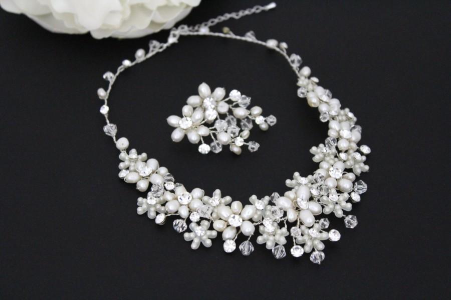 Pearl Bridal Necklace Set Crystal Wedding Jewelry Freshwater Swarovski Cer Earrings