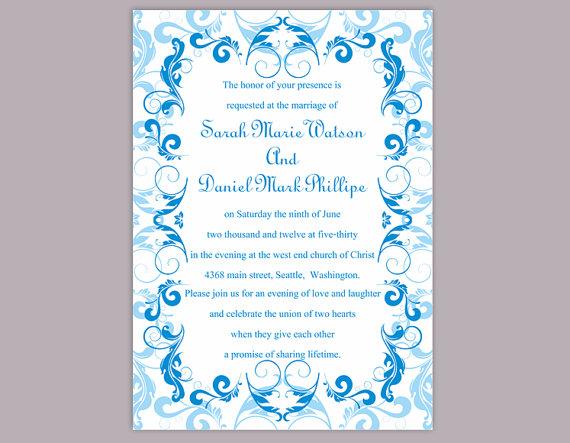 Wedding Invitation Template Printable Editable Blue Invitations Elegant Invites Turquoise Diy