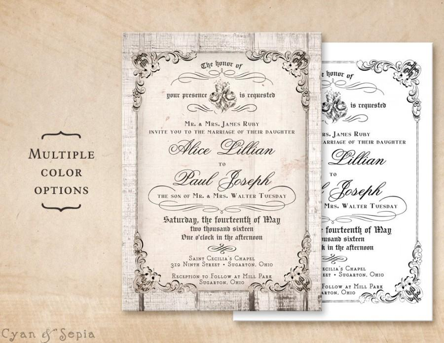 Printable 5x7 Wedding Invitation Antique Calligraphy Wood Or Plain Cottage Victorian Rustic Customized Diy White Gray Black Neutral