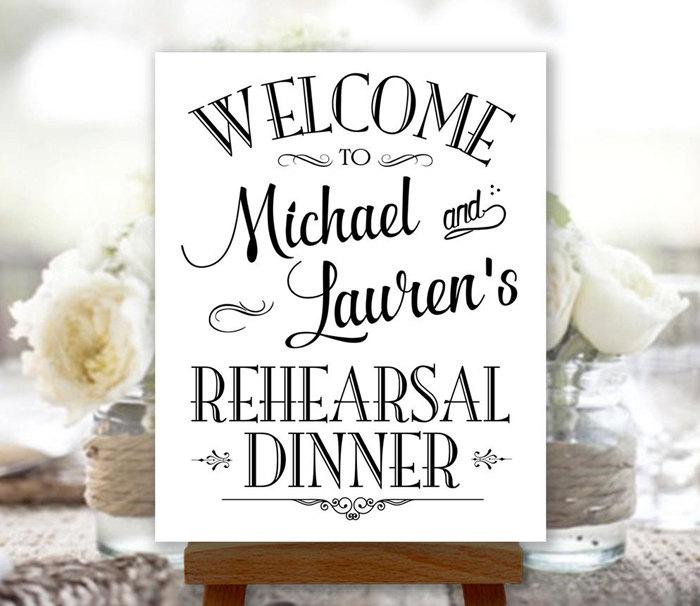 Rehearsal Dinner Sign Welcome Black And White Printable Personalized With Names Reh1b
