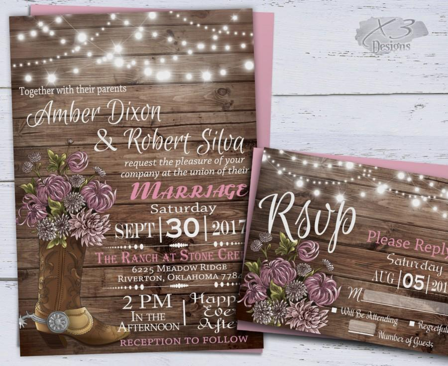 Country Western Wedding Invitations Printable Rustic Spring Fl Cowboy Boot String Lights Barn Invite Pink 39 00 Usd
