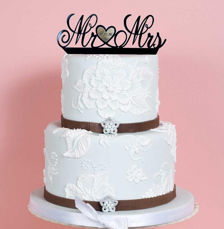 black and gold wedding cake toppers wedding cake topper custom mr and mrs gold date 11816