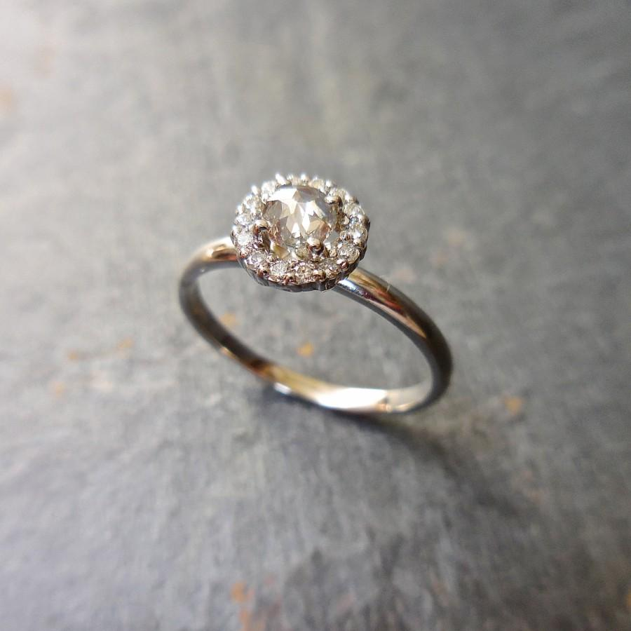 Grey Rose Cut Diamond Ring Clear Halo Modern Rustic 14k White Gold Engagement