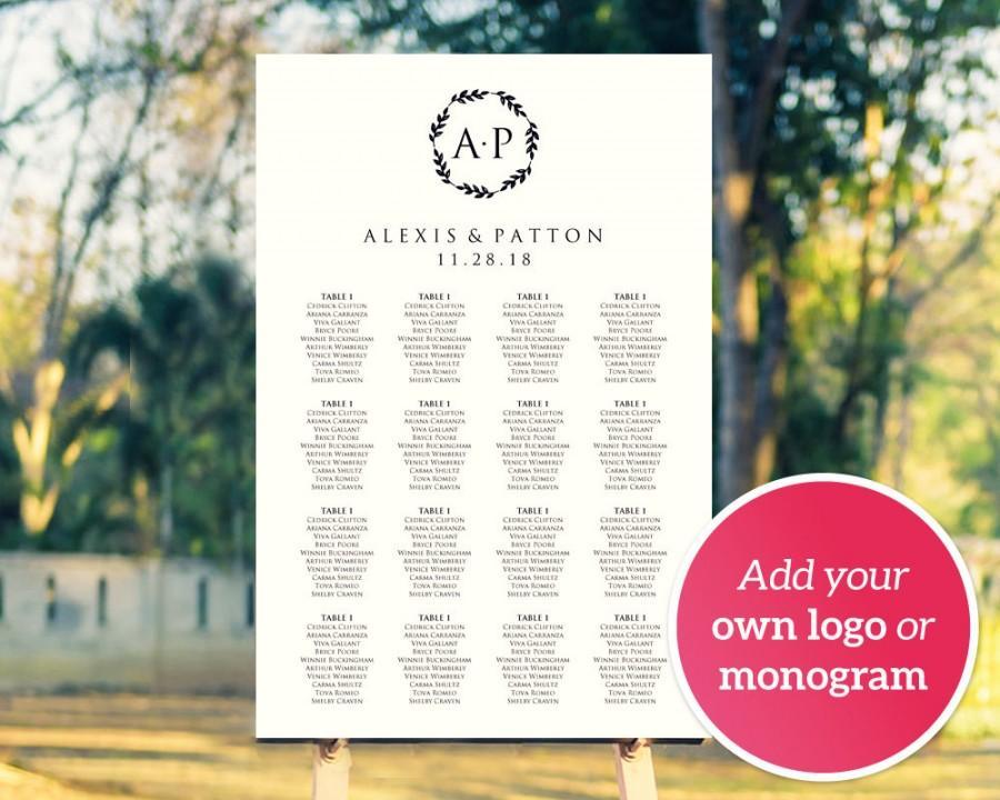 Diy Wedding Monogram Logo Seating Chart Template Four Sizes Upload Poster Reception Sign 15 50 Usd