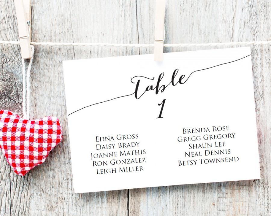 Table Seating Cards Template 1 40 Wedding Chart Diy Sizes 4x6 Horizontal Plan Printable 9 50 Usd