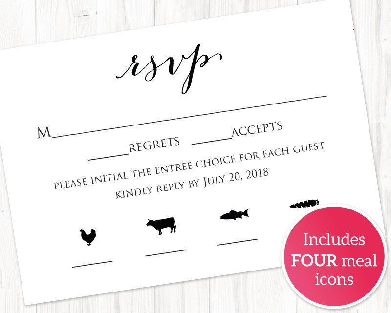 Rsvp Card With Meal Icons Templates Four Combinations Insert Template Printable Options 6 50 Usd