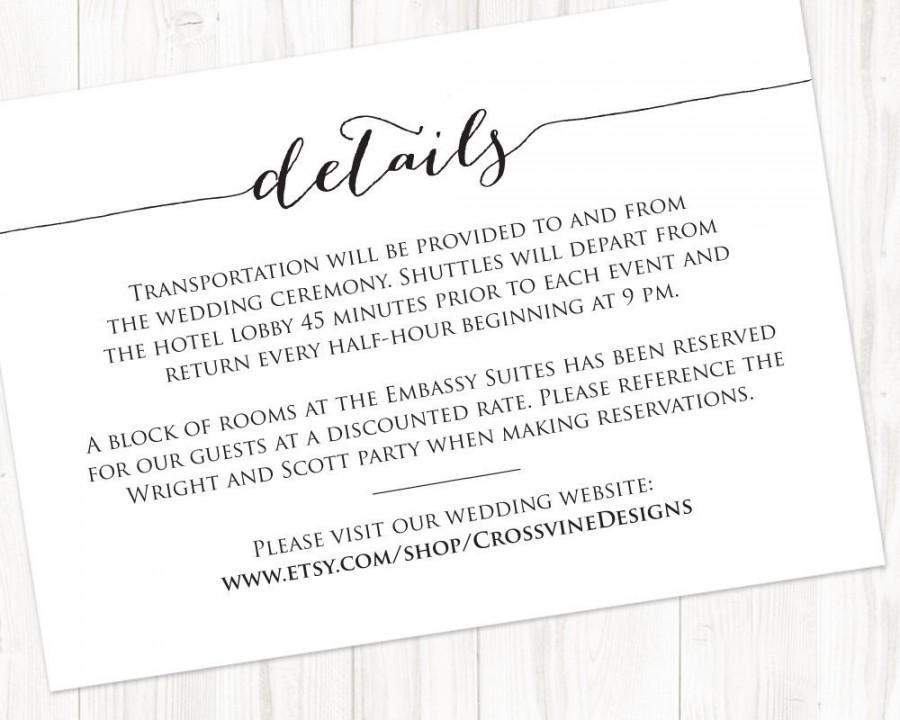 Details Card Insert Wedding Information Template Diy Bride Invite Printable Templates 6 50 Usd
