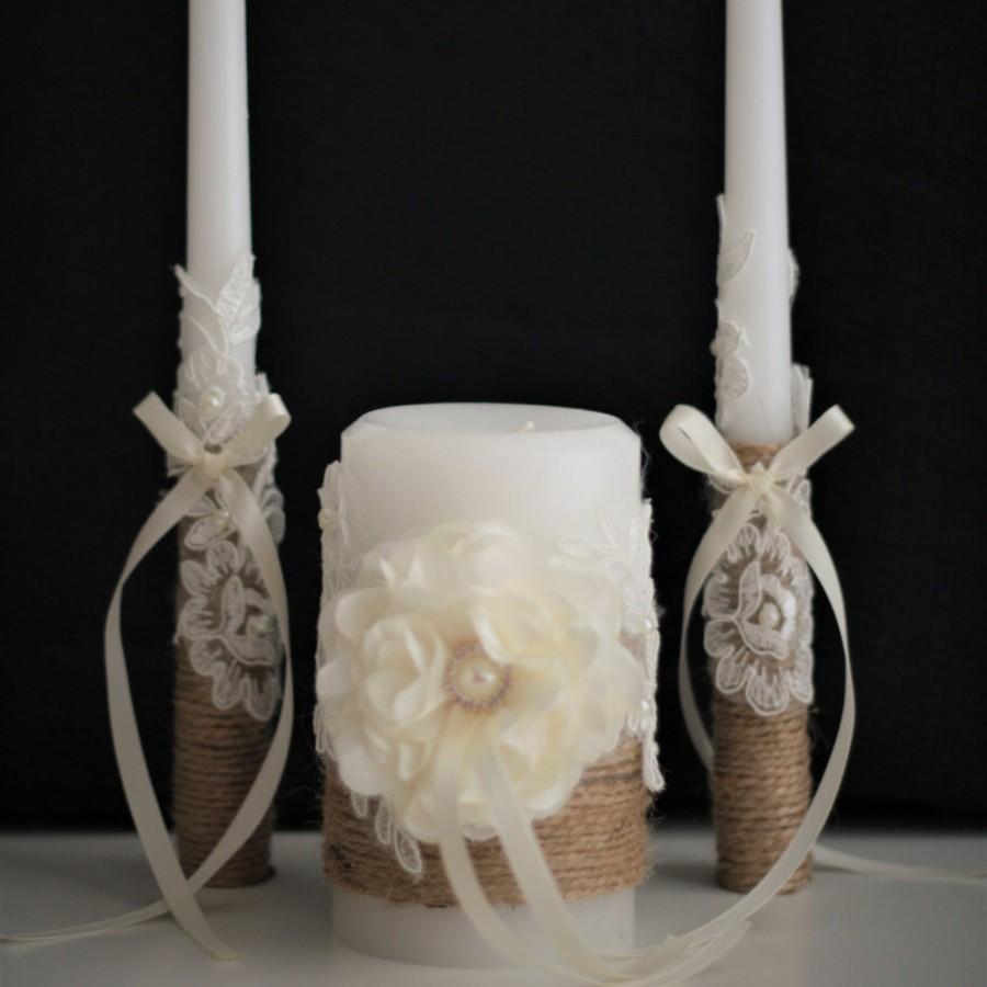 Wedding Unity Candle Set Rustic Candles Natural Stick Burlap Pillar 42 00 Usd