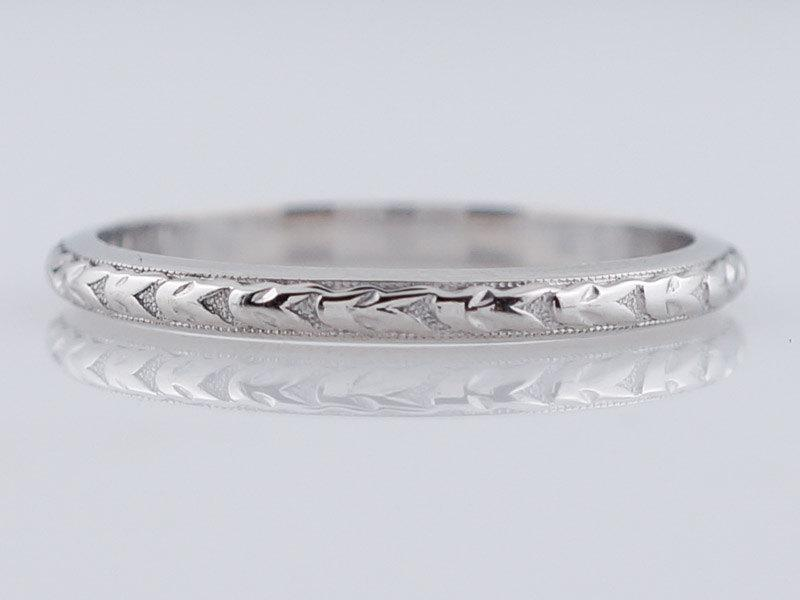 Antique Wedding Band Art Deco Geometric Engraved In Platinum