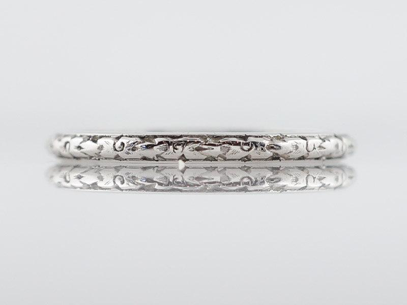 Antique Eternity Wedding Band Art Deco Fl Engraved In Platinum