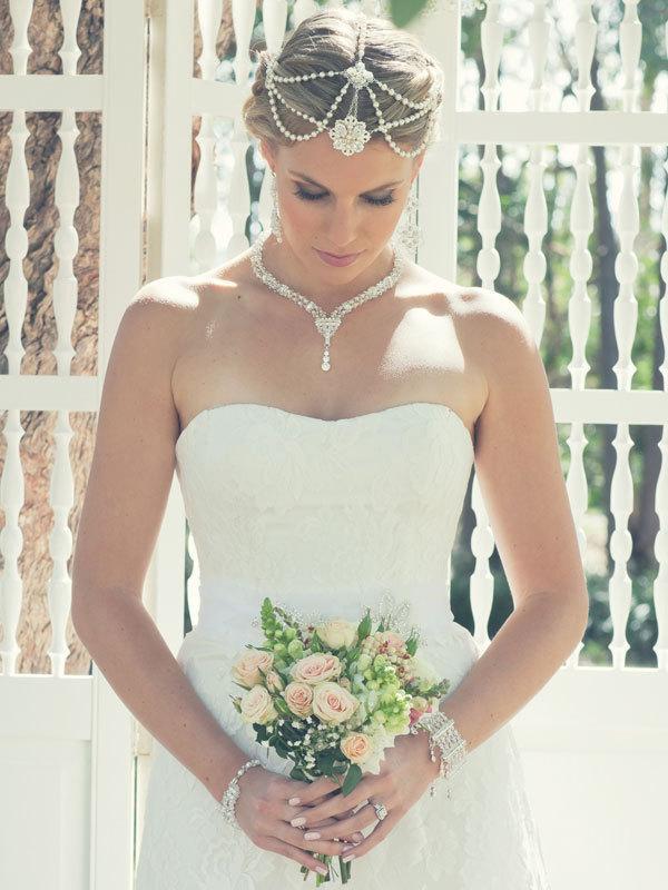 Satine Bridal Headpiece Gatsby Bohemian Hair Jewelry Boho Wedding Pearl Chain Head