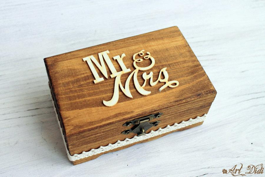 Personalized Ring Box Wedding Rustic Bearer Walnut Holder Pillow Keepsake Wood Engagement