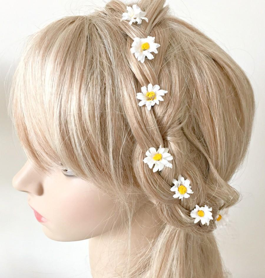 daisy bobby pins, daisy hair flowers, hair flowers, bridal hair