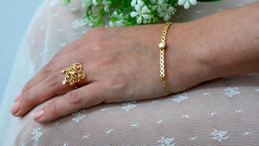 Pearl Gold Bracelet Dainty Simple Wedding Bridesmaids Jewelry Unique