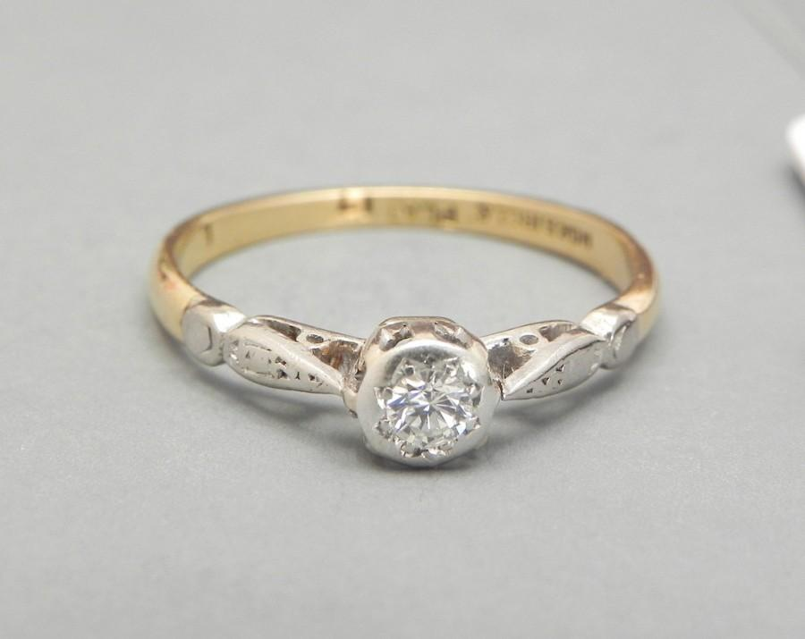 Vintage Diamond Engagement Ring 1920s 0 17ct Solitaire 18k Gold And Platinum Wedding Estate Antique Size 7
