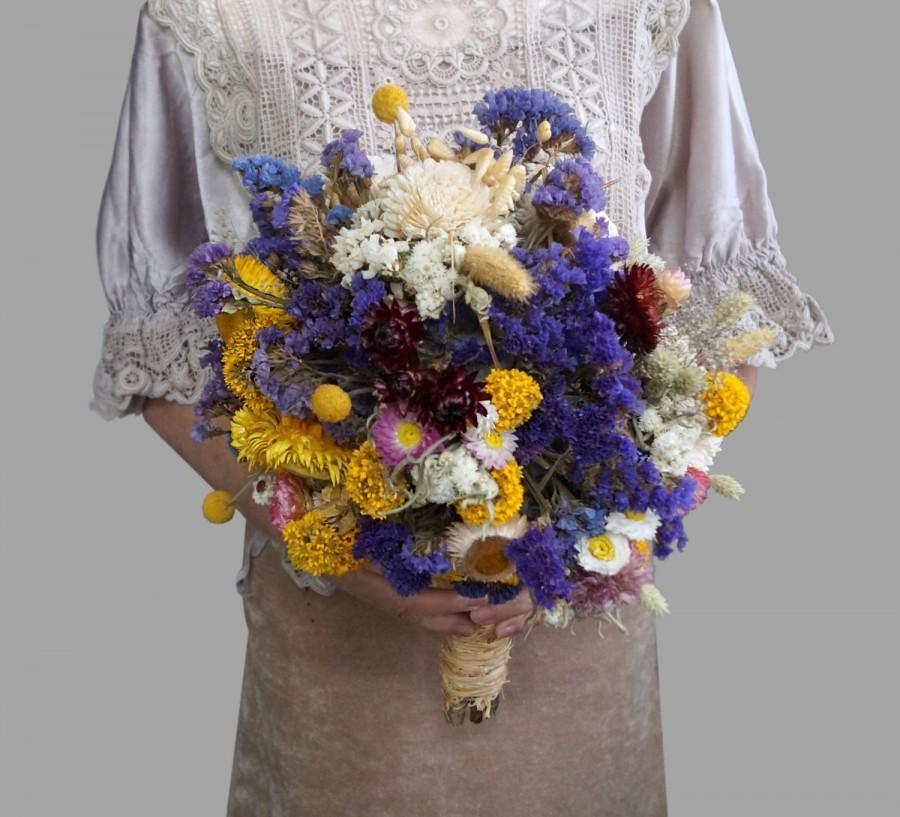Large Wedding Bouquet Lavender Bridal Rustic Sola Flower Yellow Dried Flowers Wild Weddings