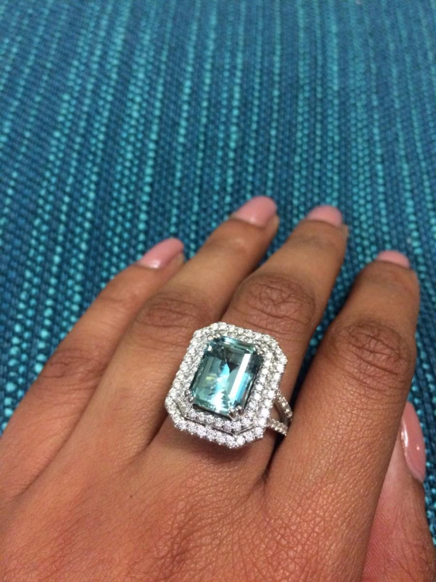 Aquamarine Engagement Ring Diamond Tail Huge And