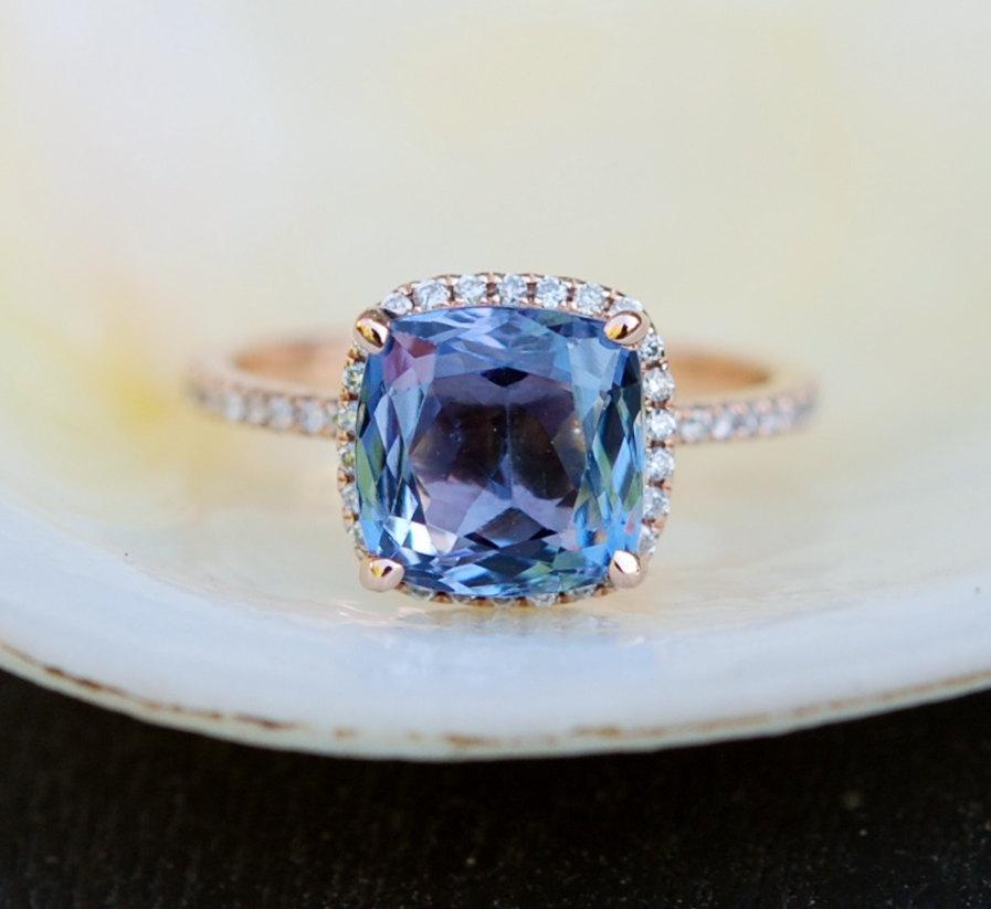 Excellent Tanzanite Ring. Rose Gold Engagement Ring Blue Green Tanzanite  GA96