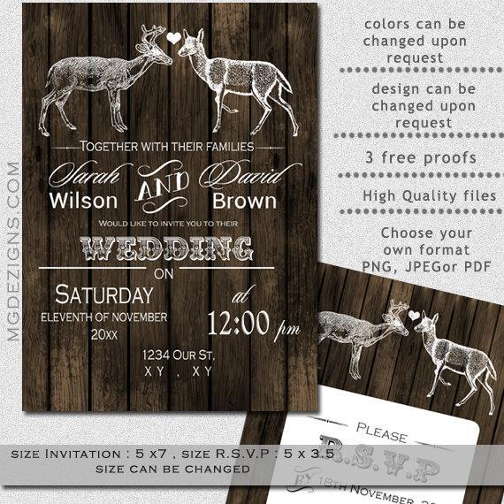 Printable Wedding Invitation Template Buck Doe Rustic Templates Winter