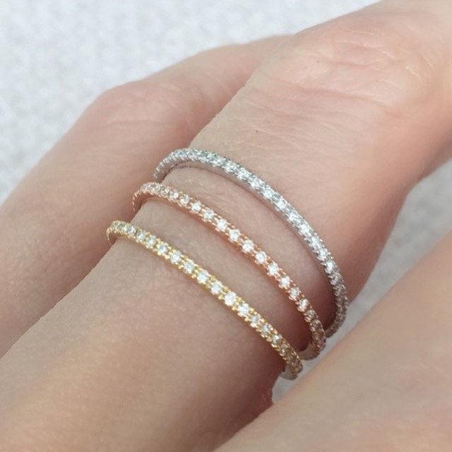 Skinny Micro Pave Eternity Ring Full Or Half Wedding Band Thin Diamond Yellow White Rose Gold