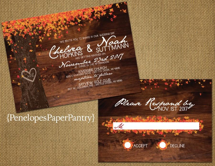 Elegant Rustic Fall Wedding Invitation Oak Tree With Colorful Leaves Heart Carved Initials Opt Rsvp Customizable Envelopes