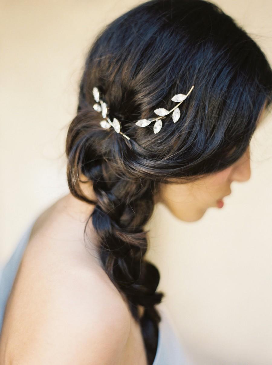 rhinestone bobby pin, mini twig hair clips, crystal hair pins, leaf