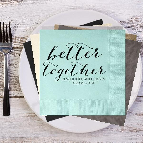 Better Together Rustic Names And Date Personalized Wedding Napkins Custom Bridal Shower Reception