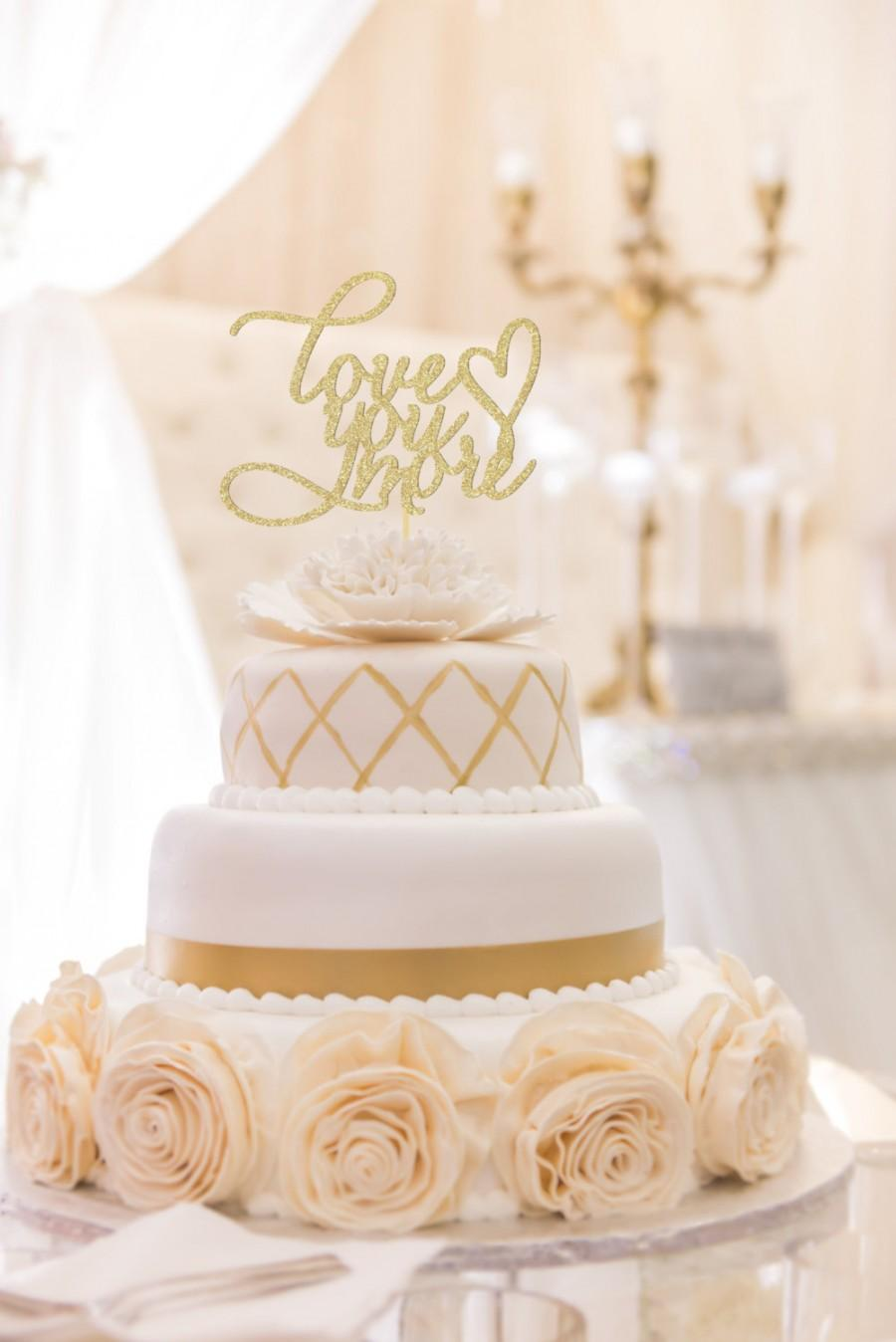 love gold script wedding cake topper you more wedding cake topper topper rustic cake 16951