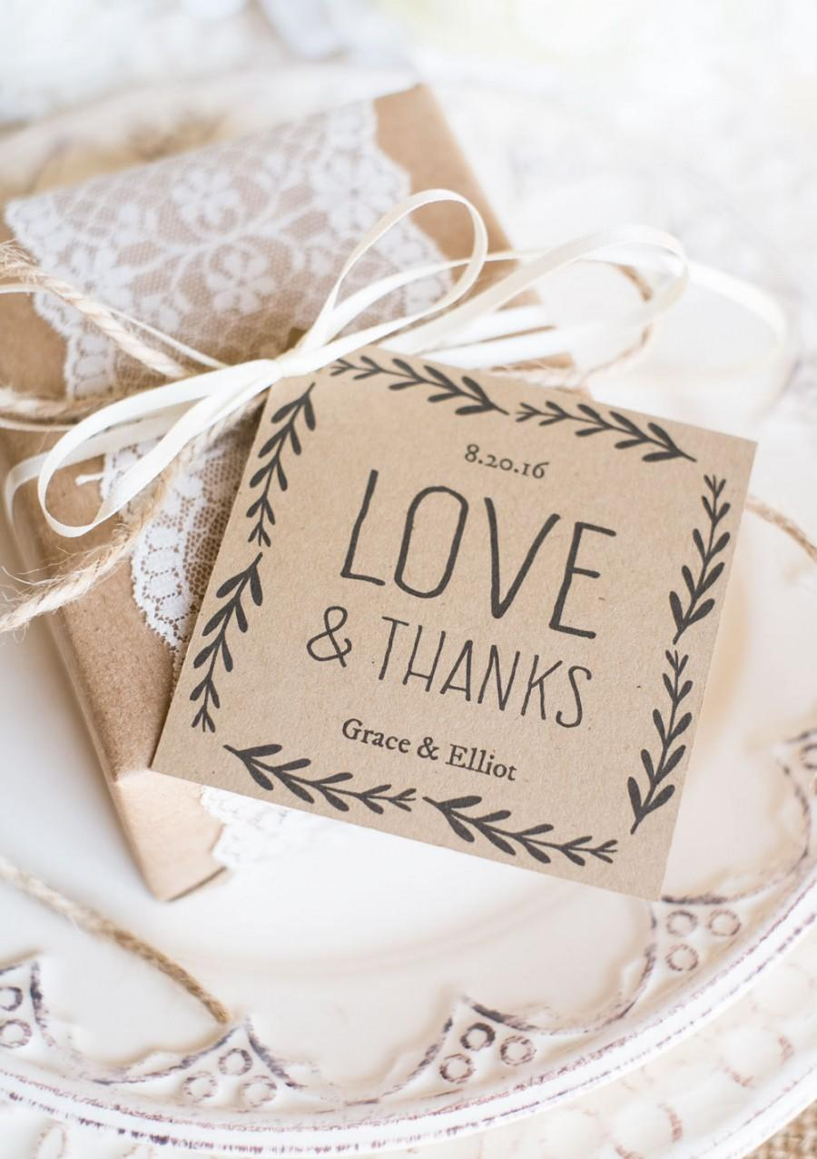 Rustic Wedding Favor Tags Printable Tag Template Kraft Paper Label Instantly Editable Text Love Thanks 3x3