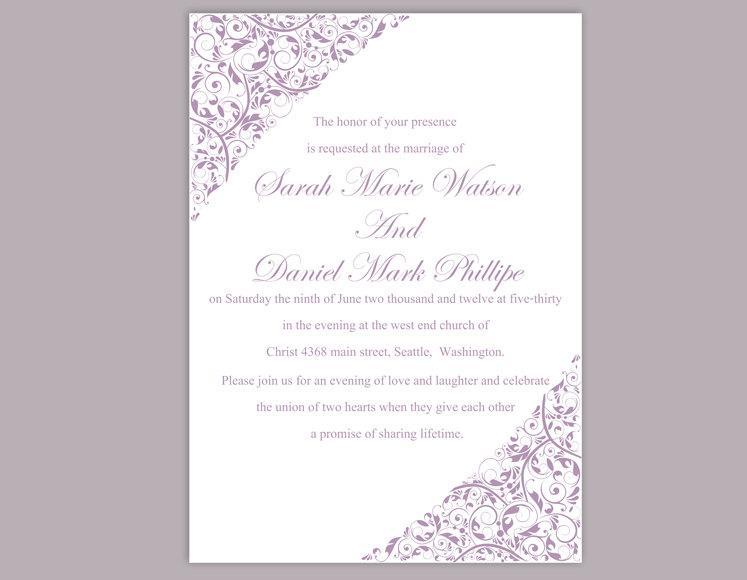 Wedding Invitation Template Printable Invitations Editable Invite Purple Elegant Lavender Diy 6 90 Usd