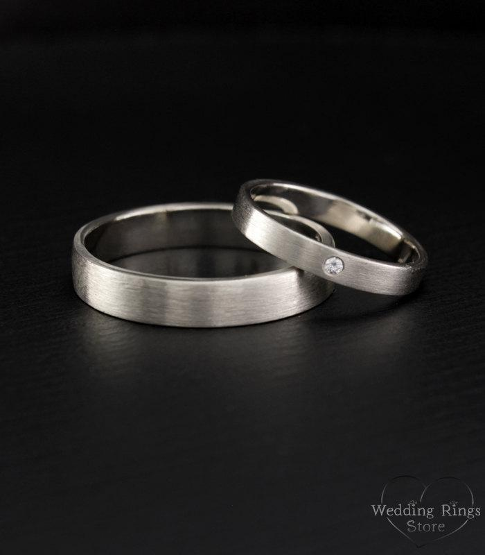 Simple Wedding Band Set His And Hers Rings Matte Finish Bands Men Silver Women Ring