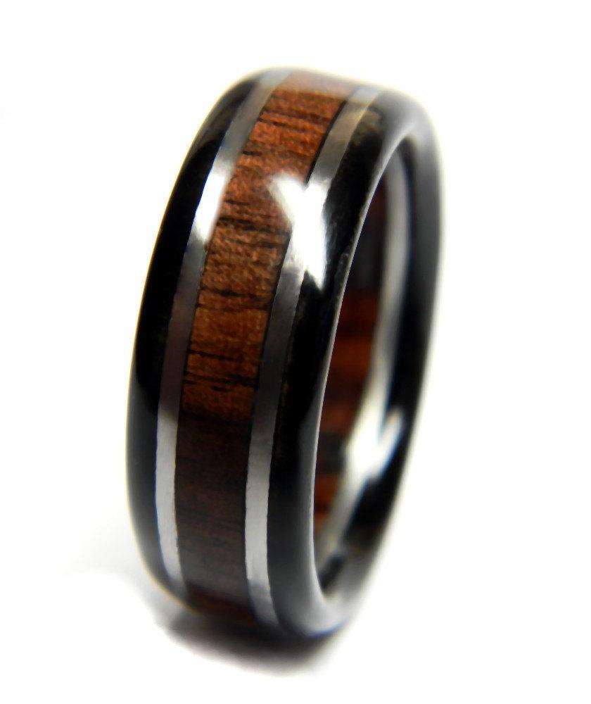 Stately Walnut And Ebony Wedding Ring Engagement Wood Jewelry Band Alternative Him Men Mens
