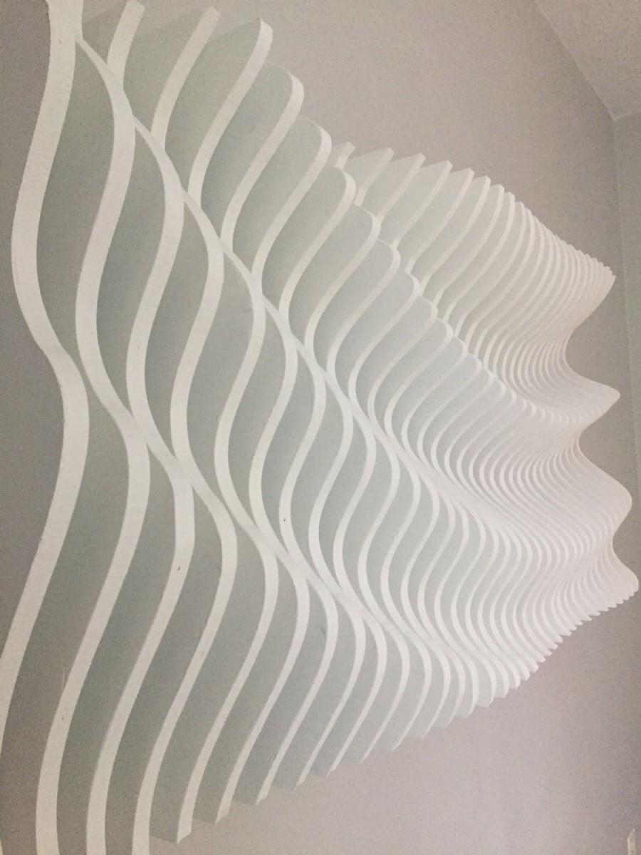 Wood Wall Art Modern Parametric Wave Sculpture Hanging Decor Abstract Artwork