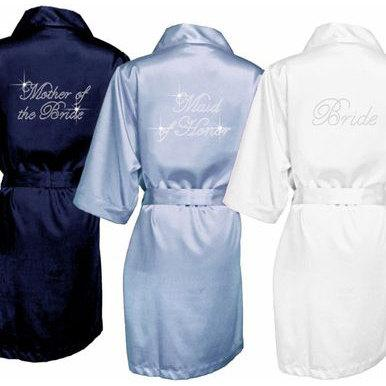 Rhinestone Bride Robe Robes Embroidered Wedding Bridesmaid Gifts Bridal Shower Gift Wifey