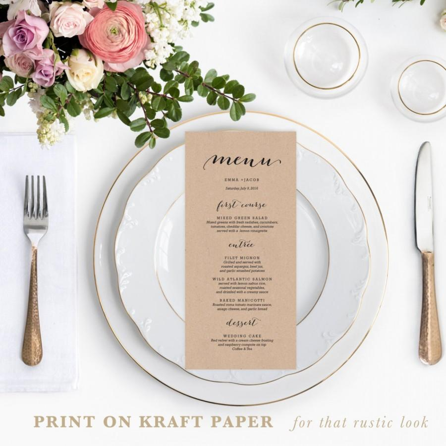 Rustic Printable Wedding Menu Template 4x9 Cards Editable Text Calligraphy Diy Templates 002