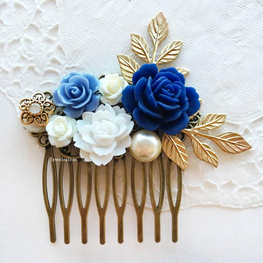 wedding comb navy blue white bridal hair accessories gold leaves