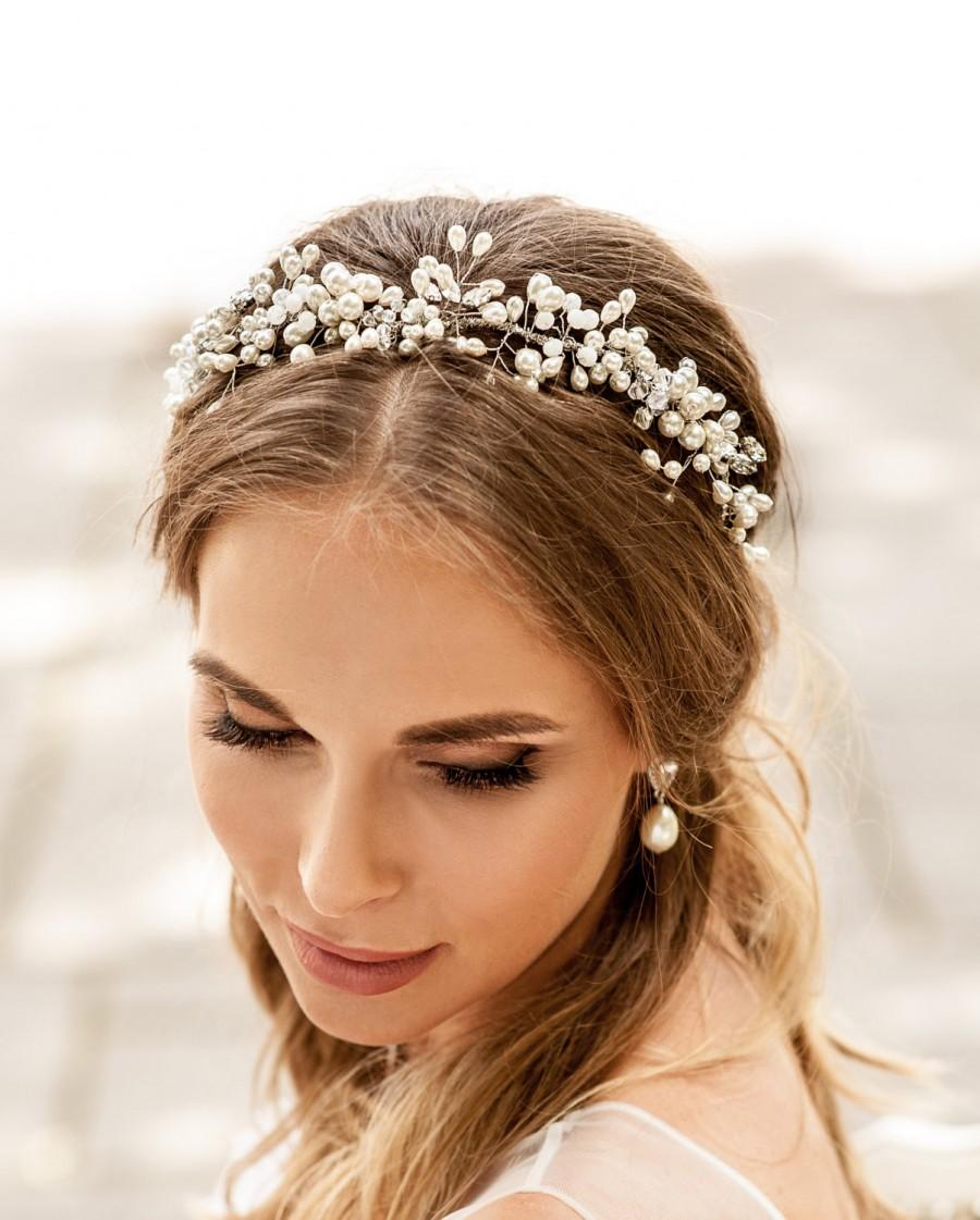 wedding pearls crown. hair vine halo for b ride to be. hair vine