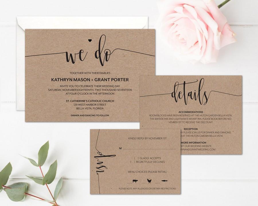 Simple Wedding Invitation Template Rustic Printable Minimalist Suite Modern Calligraphy