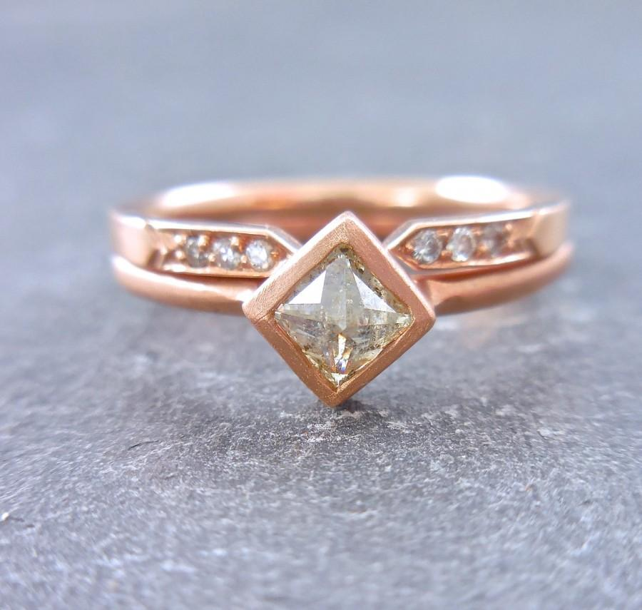 Modern Diamond Ring Inverted Natural Edgy Unconventional Engagement Rustic Princess Cut Square Minimalist Rose Gold