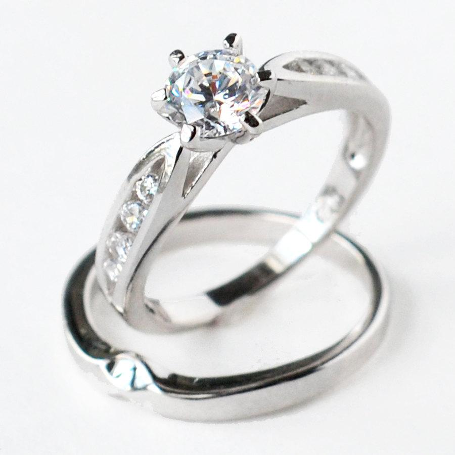 Cz Ring Wedding Engagement Set Sterling Silver Size 5 6 7 8 9 10 Mc111101r