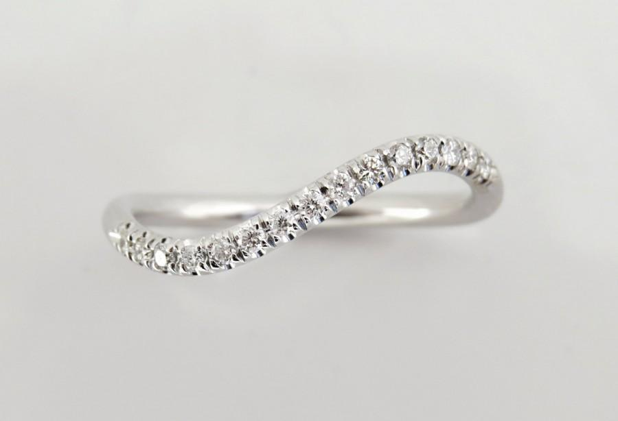 Diamond Wedding Band Engagement Ring Curved Unique 14k Gold Eternity