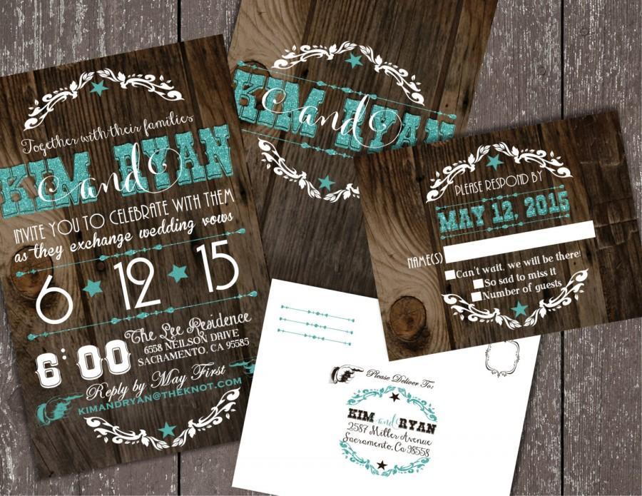 Wedding Invitations Western Cowboy Glitter