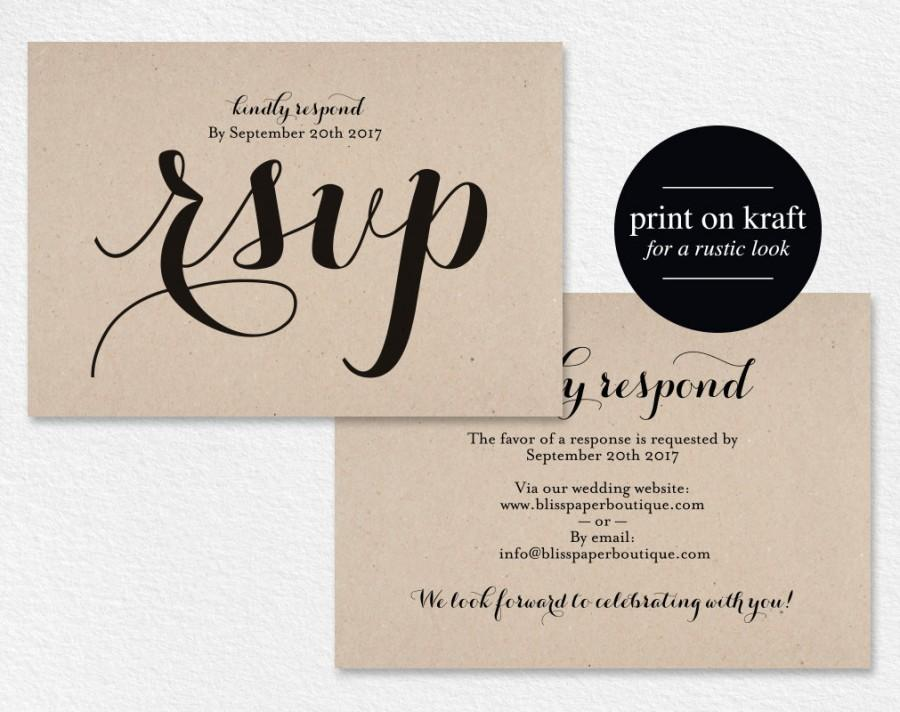 Ideal RSVP Postcard, Rsvp Template, Wedding Rsvp Cards, Wedding Rsvp  OX22