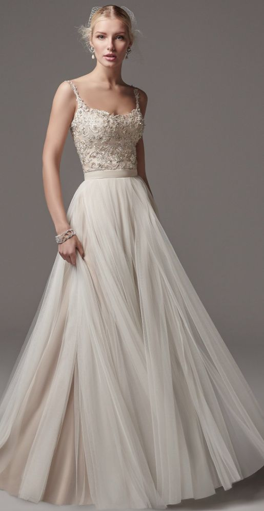 Wedding dress tulle skirt wedding ideas spaghetti strap bead embellished bodice tulle skirt wedding dress junglespirit