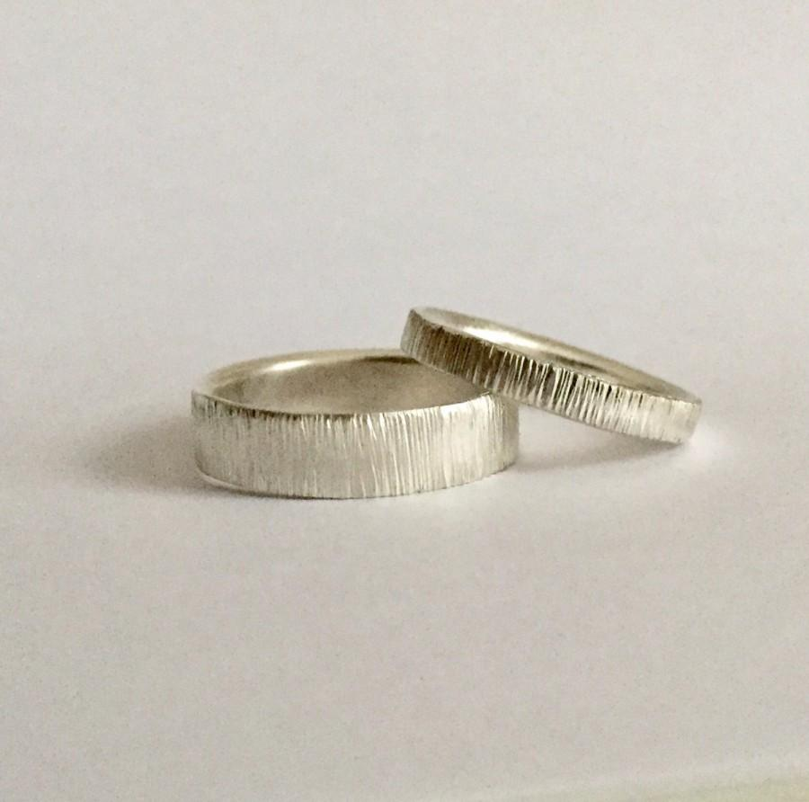 Set Of Two Tree Bark Rings Solid Silver Wedding Band Men S Women Friendship Uni Eco 1234mm Wide His Hers