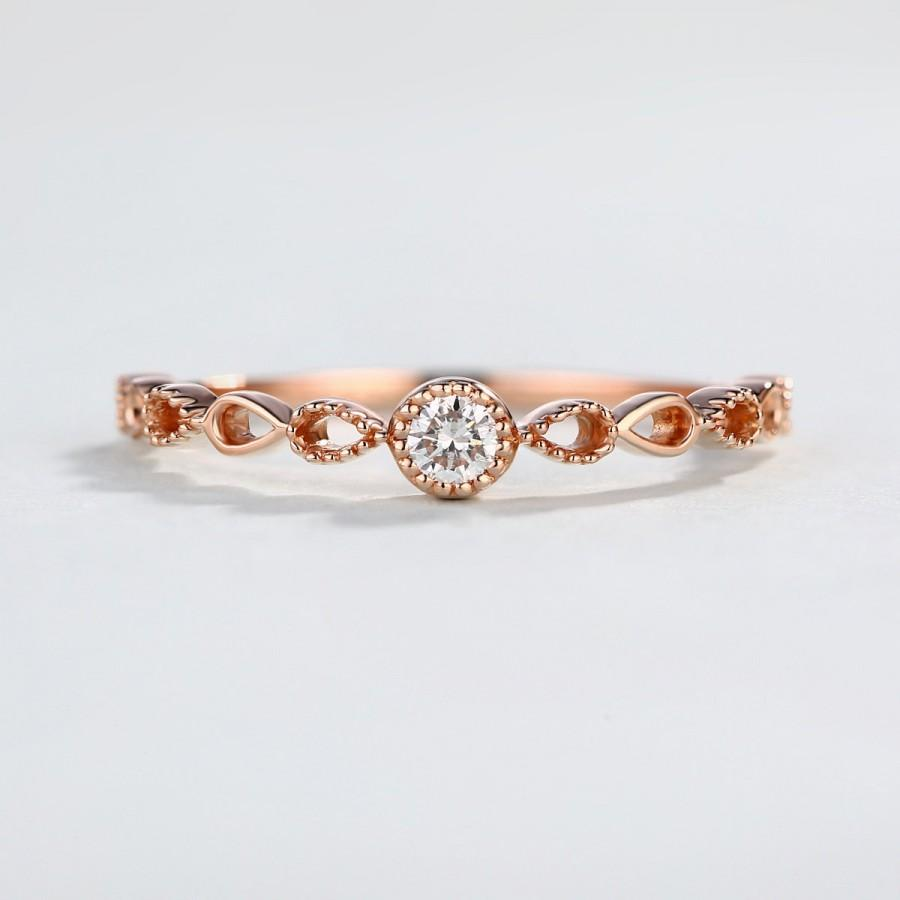 Rose Gold Wedding Band Half Eternity Twisted Diamond Ring Unique Celtic Promise